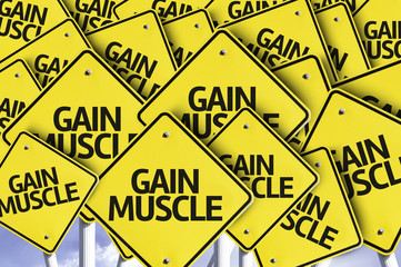 Gain Muscle written on multiple road sign