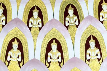 Thai Mural Painting on the wall, Wat Pho, Bangkok, Thailand