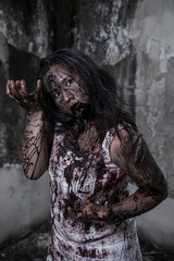 Zombie girl in haunted house