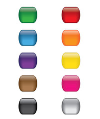 Colorful Glass Web Icon Button Set