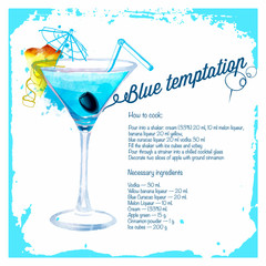 Blue temptation cocktails drawn watercolor.