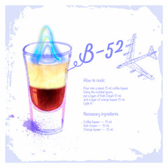 Сocktails B-52. Menu drawn watercolor.