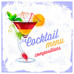 Vector Cocktails menu drawn watercolor.