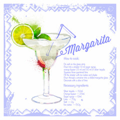 Сocktail Margarita. Menu drawn watercolor