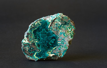Polished dioptase from the Congo. 7cm across.