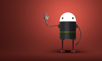 Robot with glowing head waving hand