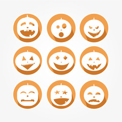 Icons Set of Halloween with pumpkins funny