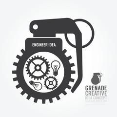 Vector gear distortion from grenade concept engine of idea.desig