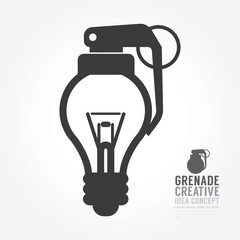 Vector light bulb distortion from grenade concept of idea.design