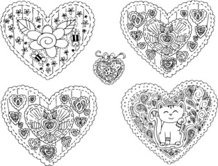 Five cute decorations in hearts shapes