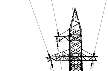 High voltage power lines and pylon. vector EPS10.
