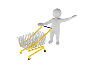 3d man with shopping trolley