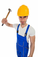 Angry construction worker with a hammer