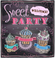 Sweet party chalkboard.