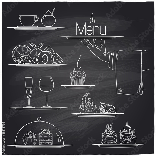 Chalk banquet food symbols. - 68373734
