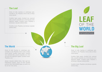 Leaf of the world. Eco volunteer infographic. For green business