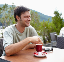 Man having coffee outdoor