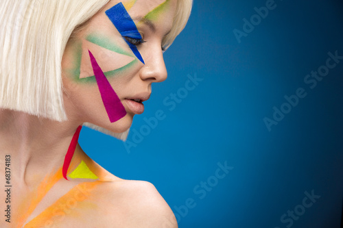 fashion woman with triangles on the face