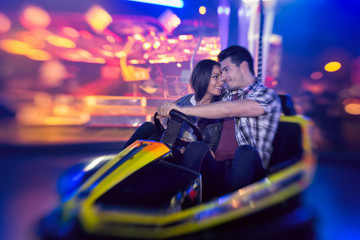 couple in bumper car