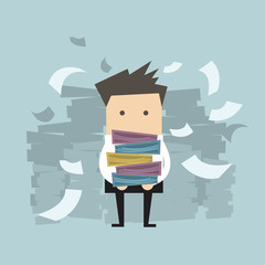 Businessman carrying folders and paper falling down, vector