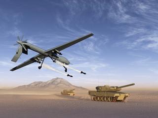 Drone atacando tanques de guerra