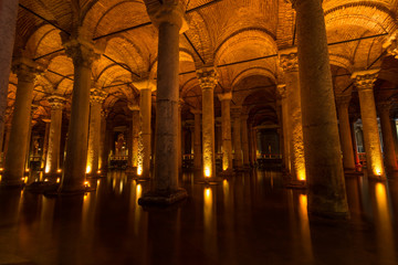 Rows of columns at the Basilica Cistern.