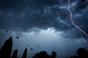 lightning bolt on dramatic sky