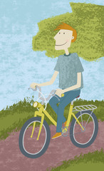 Bike ride. Illustration of a young man riding a bike