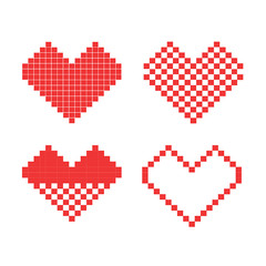 Pixelated red heart icons set