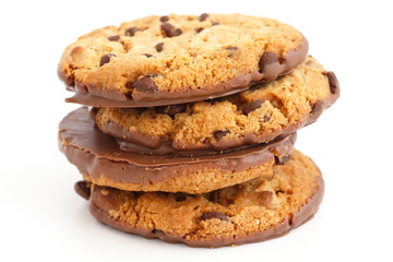 Chocolate chip cookies with half coated in chocolate.