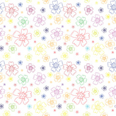 Seamless pattern with outlines of flowers