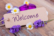 canvas print picture - Welcome - Schild mit Dekoration