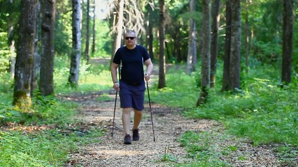 Hiker with walking sticks in the forest episode 2
