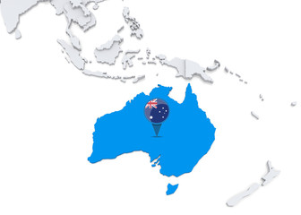Australia on a map of Oceania