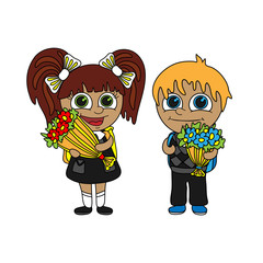 Schoolboy and schoolgirl with bouquets