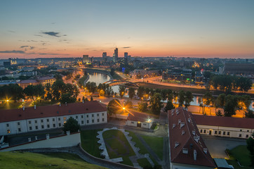 Aerial night panorama of Vilnius, capital city of Lithuania