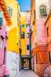 Colorful houses of residential street in Venice, Italy