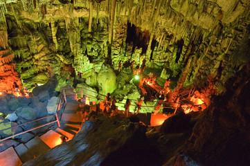Stalagmites in the Psychro Cave(Cave of Zeus).Crete,Greece.
