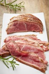 sliced roast beef on white plate