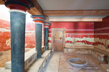 Detail of the Throne Room at Knossos palace. Crete, Greece.