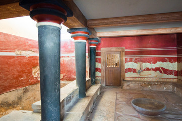 Throne Room and Griffin at Knossos palace. Crete, Greece.