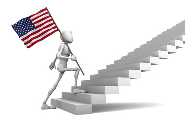 Guy freely walking the stairs to the top and carries the America