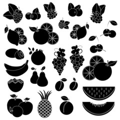 Black white vcetor icons - fruits and berries