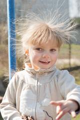 little girl with spiky hair