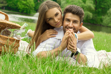 Sensual couple on picnic