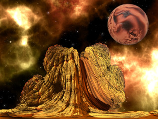 Alien Rock with space background