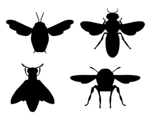 Black silhouettes of bees, vector