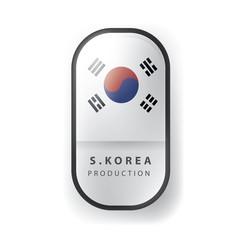 Made in S.Korea, south Korean Flag (Vector Art)