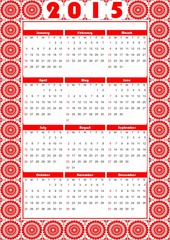 Calendar 2015 of folklore style with fine red pattern