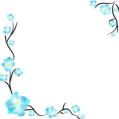 Blue floral frame, isolated on white